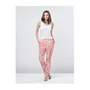 Broek Print  in koraal-oranje/wit, elastische taille, 2 open zakken achteraan. Op www.shopwiki.nl #fashion_vrouw #broek