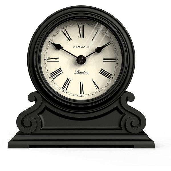 Newgate Clocks Writing Desk Clock - Black found on Polyvore featuring home, home decor, clocks, black, roman numeral clock, black mantel clock, black home decor, newgate clocks and newgate
