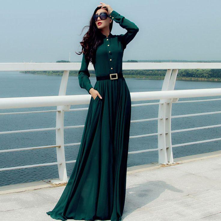 Green Elegant Maxi Long Dress For Women SD475