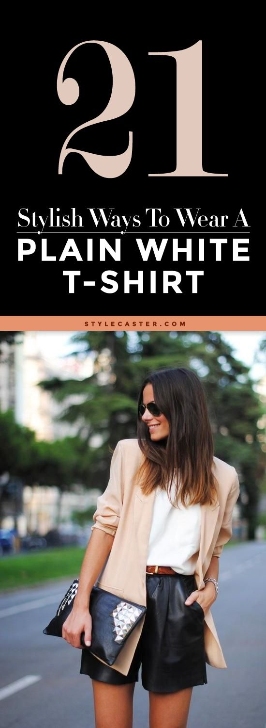 21 Stylish Ways To Wear A Plain White T Shirt | Lightweight nude blazer, casual white t-shirt, + sleek high-waisted leather shorts