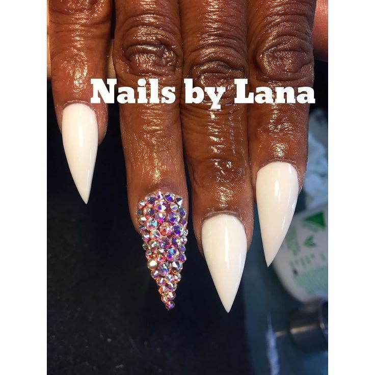 All white acrylic she requested middle finger shorter & Swarvoski nails BoOk mE  bOoK mE #scra2ch#yourfuturenailartist#Tippietoesmia#treasurenails#Bossnails#Betterthanyournailtech#nailsbylana#yourfuturenailartist#treasurenails#dopenails#RespectmyArt#stilletonails#funkynails#bossnails#coffinnails#tippietoes#RespectmyArt#blackgirlsdonails#ggdn by nailsbylana_tippietoesmia