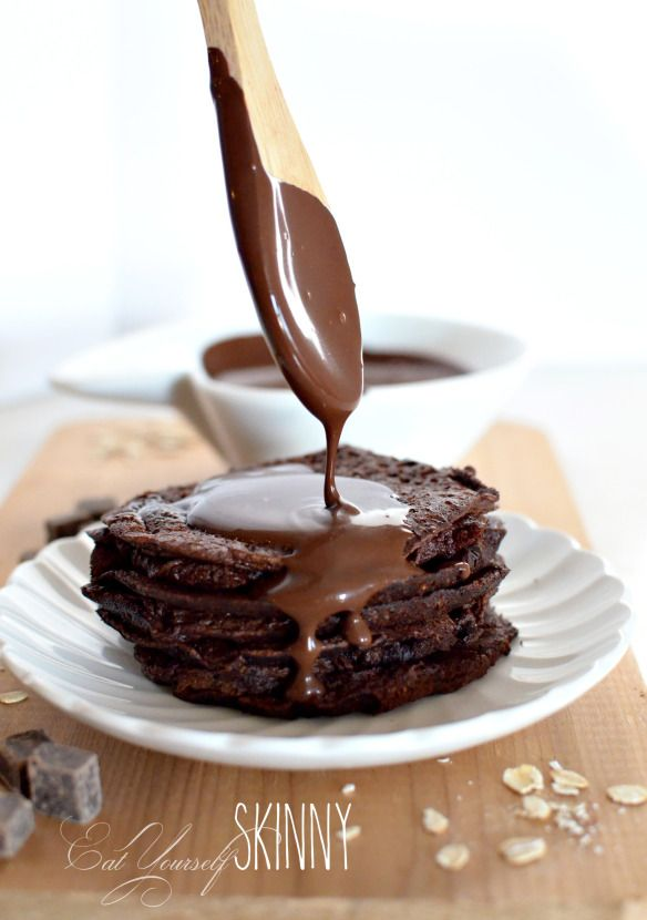 Chocolate brownie pancakes with chocolate fudge syrup.  THM style E, syrup is a FP. ;)