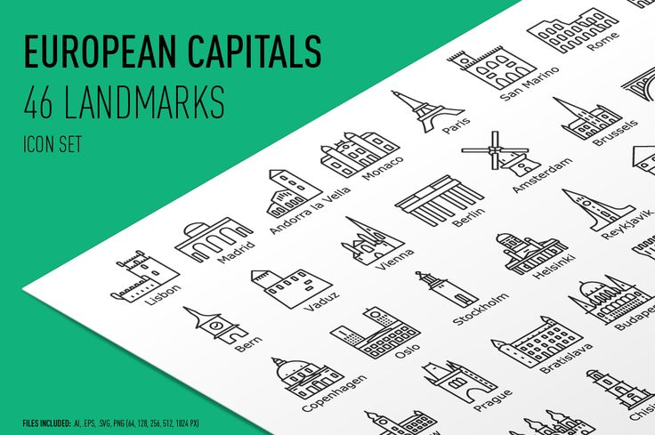 European Capitals – Icon Set by bhj on @creativemarket