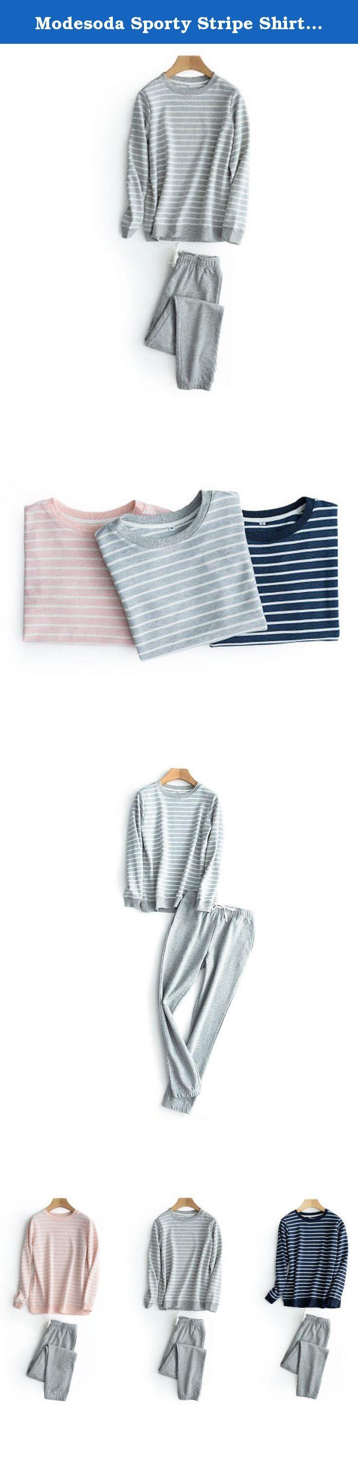 "Modesoda Sporty Stripe Shirt Jogger Pajamas Set Nightdress. Size Chart for Women: S: bust 37"",waist 26-36"",hip 43"",top length 24"",pants length 36"" M: bust 39"",waist 27-37"",hip 43"",top length 24"",pants length 37"" Size Chart for Men: S: bust 41"",waist 28-37"",hip 43"",top length 26"",pants length 38"" M: bust 42"",waist 29-39"",hip 45"",top length 26"",pants length 40""."