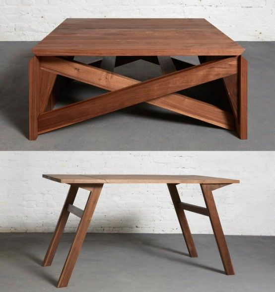 Collapsible Furniture; Transforming And Converting Towards Modern Interior  Trend: Classic Wooden Folding Coffee Table
