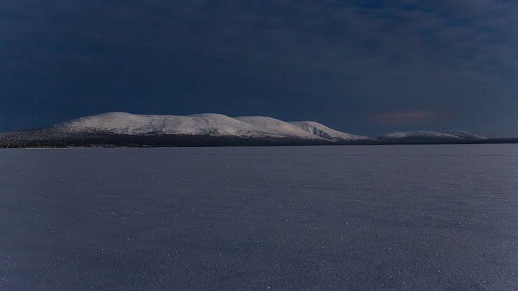 Moonlight on lake Pallasjärvi, Lapland, Finland.