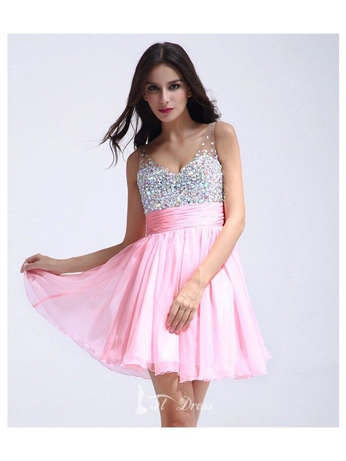 Sexy Brilliant Sweetheart Chiffon A-Line Short-Length Dress