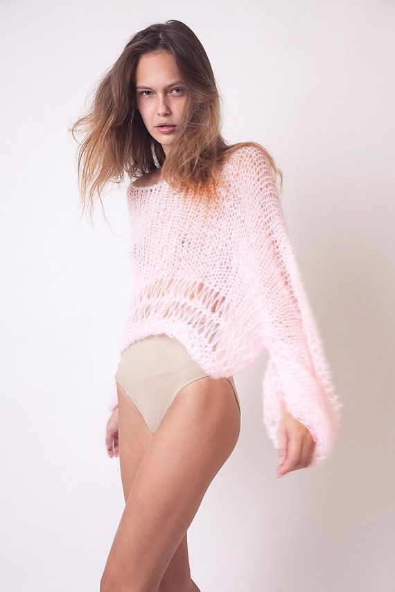Pink crop top, loose sweater, bat wing jumper, boho wear, women knitwear…