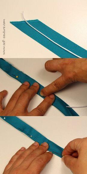 fabriquer passepoil avec simple ruban ( pas du biais )