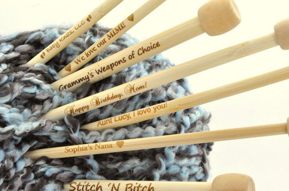 Personalized Engraved Pair of Bamboo Knitting by SmartParts
