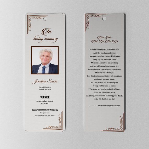 Funeral Bookmark Template Memorial Bookmark Microsoft Word And Photoshop Template In Funeral Program Template Bookmark Template Funeral Templates Free