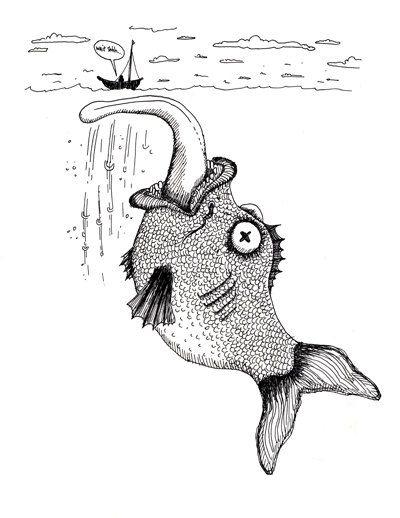 Big Fish Sketch Fishing Ocean Sea Sailing Funny by DWKNYPHOTO