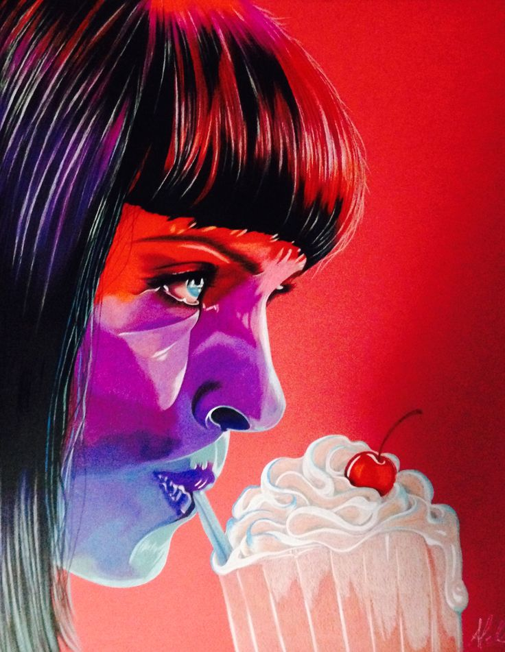 Mia Wallace. Pulp Fiction. Lápices de colores sobre canson rojo. Instagram @aleolivares_arte