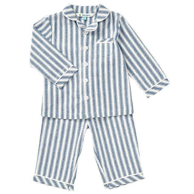 BuyJohn Lewis Baby Striped Woven Pyjamas, Blue, 3-6 months Online at johnlewis.com