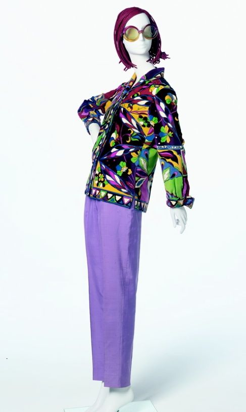Ensemble | Emilio Pucci (Italian, 1914-1992) | 'Brasilia' blouse, 1960, printed silk | Pant, 1960's, silk shantung | The lush island of Capri was the center of spring and summer fun | Pucci took long sea dives with his camera to capture the brilliant underwater colors and patterns of the Mediterranean Sea. On land, he photographed the vibrant flowers, and transformed all these inspirations into his famous prints | Arizona Costume Institute