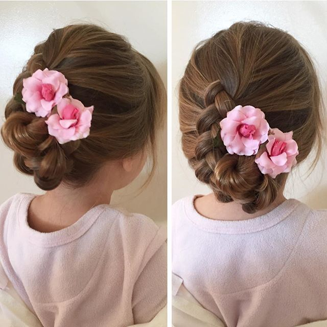 Soft braided flower girl hairstyle... modeled on Caitlyn my 2 year old! #hairstyle #flowergirlhair #flowergirl #dutchbraid #braiding #braid #flowers #hairflowers #weddinghair #updo