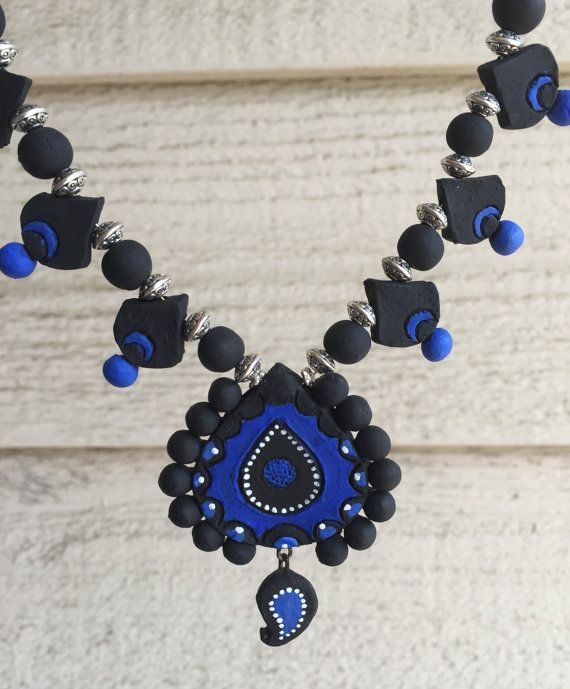 Handmade beautiful Terracotta jewelry set / Blue and black combination - Ready to ship