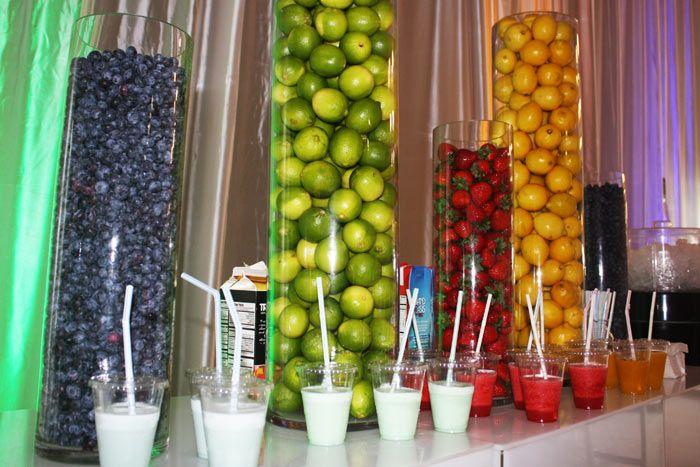 vase fillers at a smoothie bar
