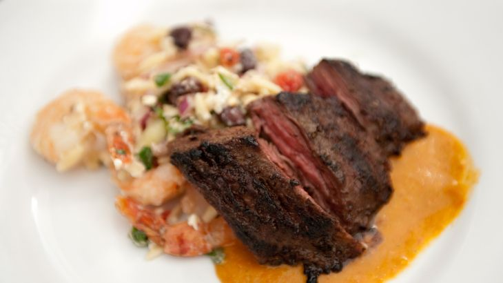 Grilled Skirt Steak with Sweet Roasted Tomato Sauce and Roasted Shrimp ...