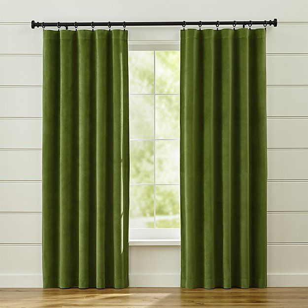Made from 100% cotton sateen, these classic green curtain panels accent the room with rich color and a slight sheen. Lined in cotton/polyester, the panels drape beautifully. Hang from the rod pocket or use the back tabs to create a pleated effect. Available in four shades that coordinate perfectly with our striped Alston curtain panels.