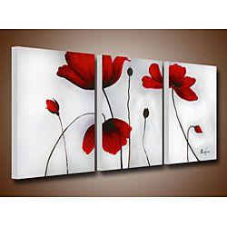 'Flowers' Hand-painted Oil on Canvas Art Set