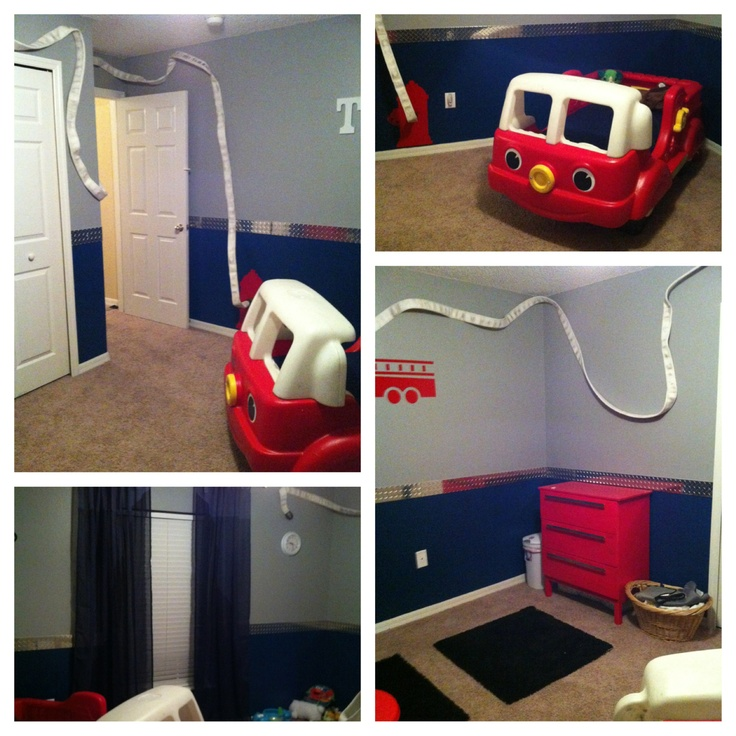 Toddler Firetruck Room I Like The Diamond Plate As A Border