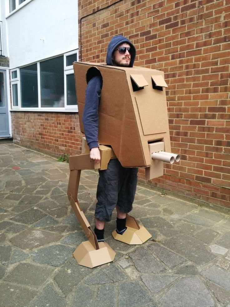 Unique Star Wars AT-ST Walker Cardboard Costume - See video!! (Home-made)