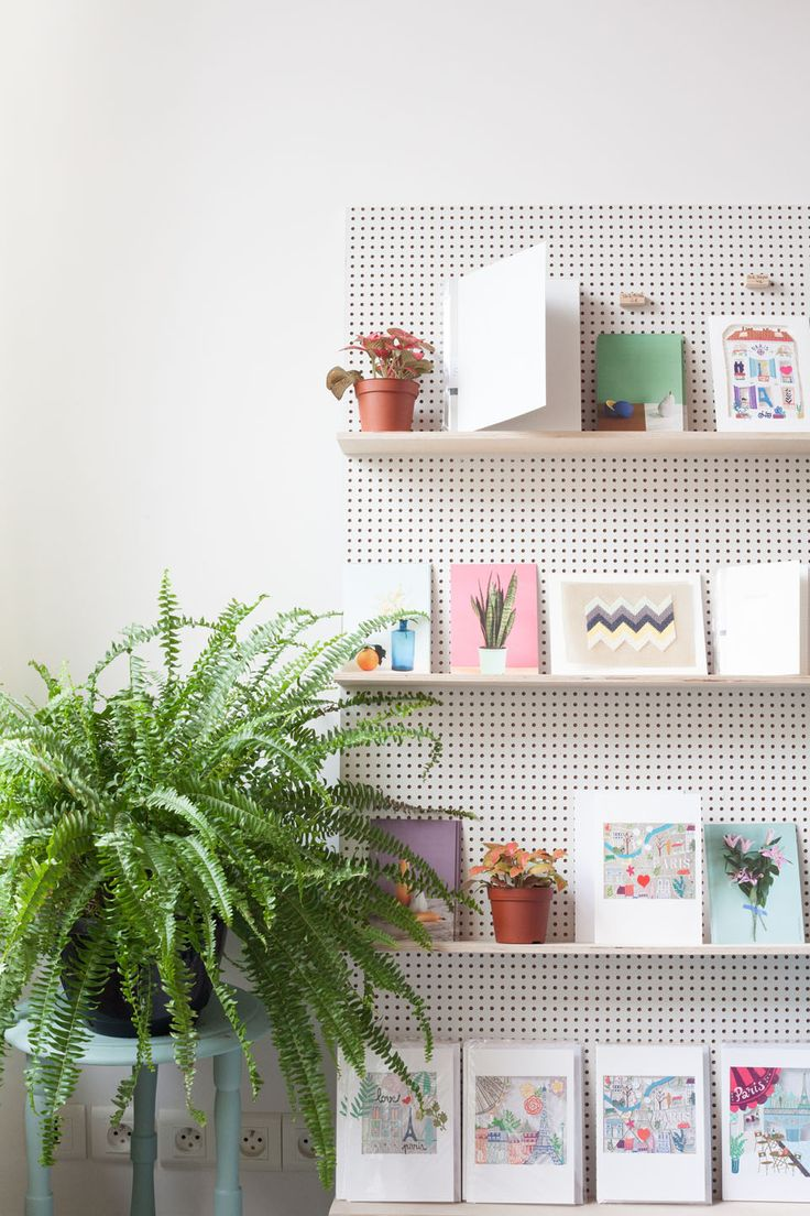 diy inspiration leaning pegboard book shelving