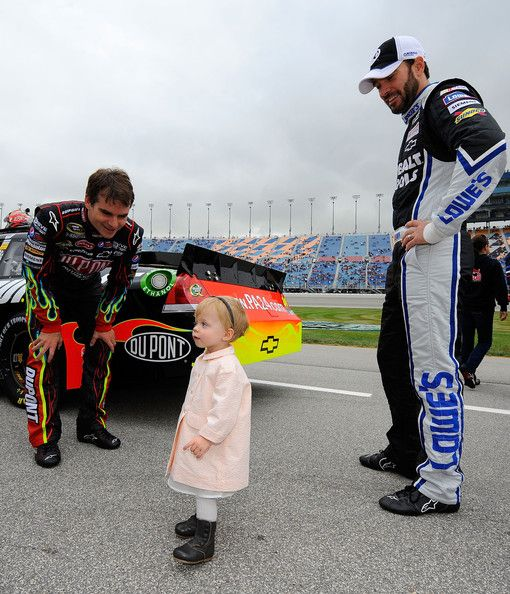 "Jeff Gordon says ""hi"" to Jimmie Johnson's daughter, Genevieve."