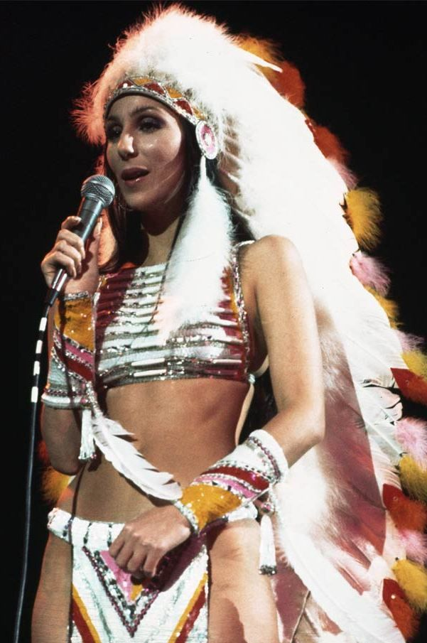 Cher as an indian chief. God this woman has had so many amazing outfits.