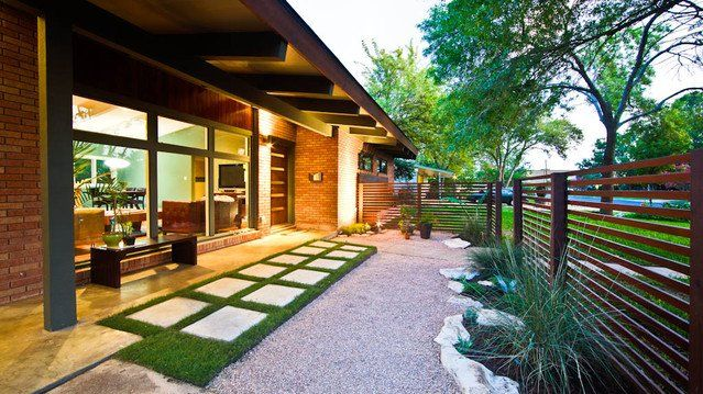 Midcentury Entry : Eaves, Outdoor Lighting, Wood Bench, Brick Wall, Grass, Turf Decorating & Planning Reference