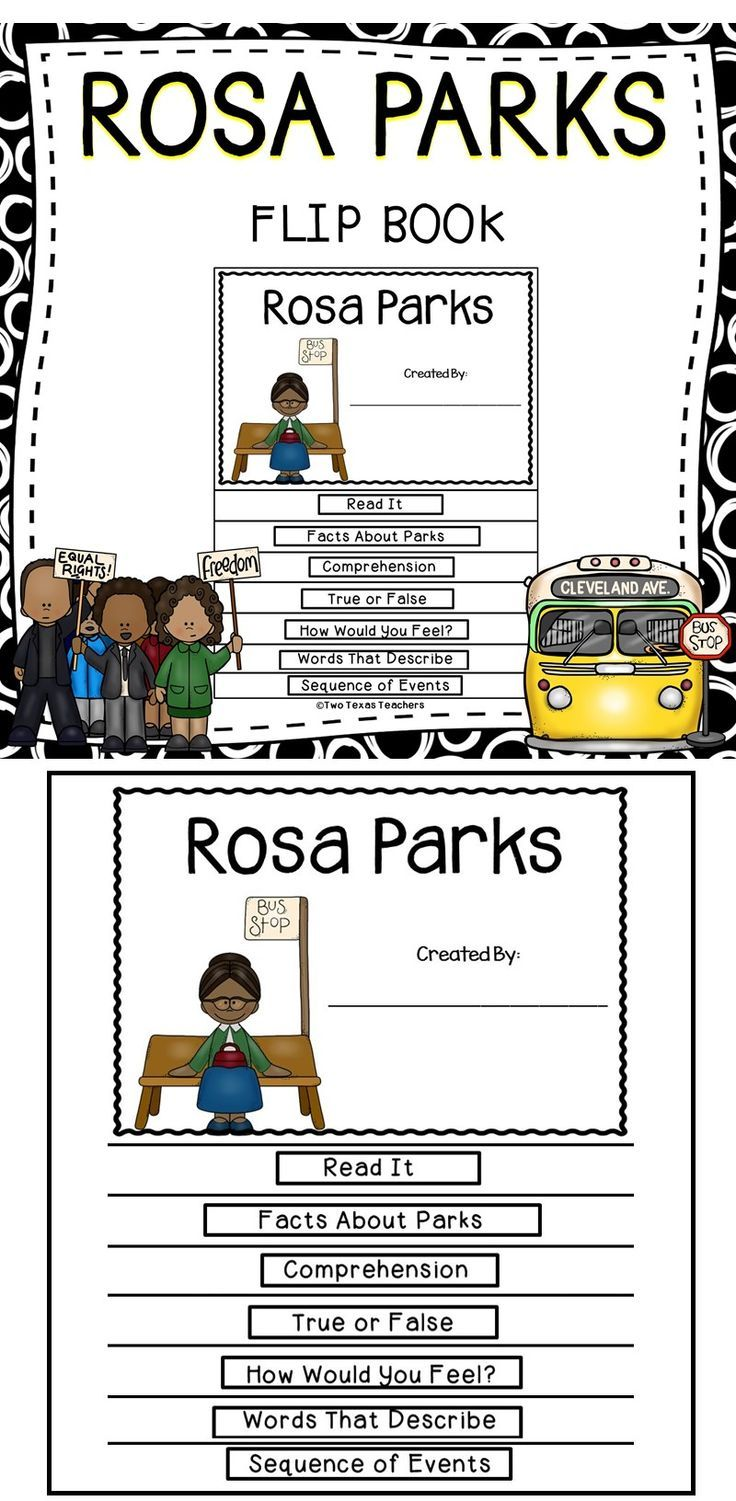 This is a Rosa Parks flip book activity pack for children. This resource is a fun and engaging supplemental resource for the classroom! Click here to download this resource from Teachers Pay Teachers. #history