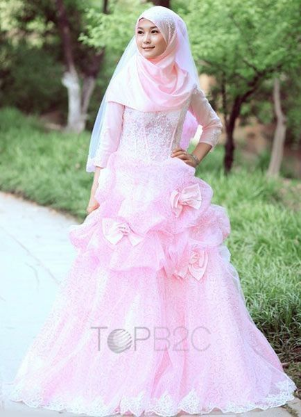 Pink Lace A line 3 4 Sleeves Floor Length Muslim Wedding Dress Free Shipping