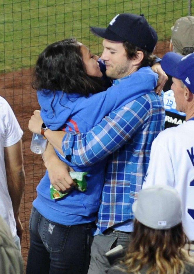 Mila Kunis and Ashton Kutcher Kissing at Dodgers Stadium in LA
