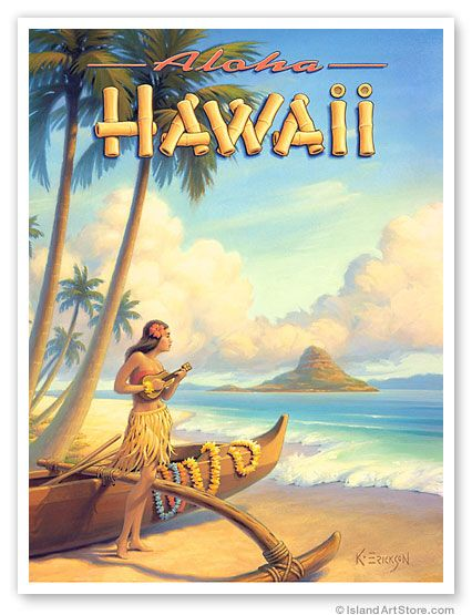 Hawaiian Vintage Art by Kerne Erickson