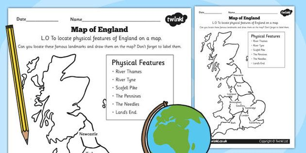 Physical Features of England Worksheets  geography activities