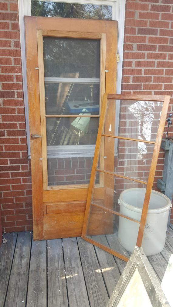 Antique Wood Screen Door Interchangeable Storm Screen Door Building Supply Architectural Salvaged Pantry Exterior Door 32 X 80 At44 Screen Door Wood Screens Wood Screen Door