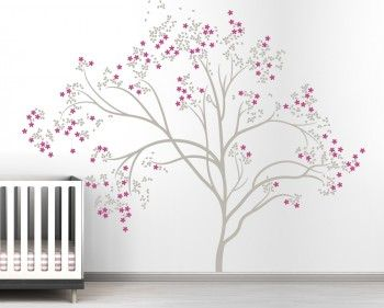 Littlelion Studio Blossom Tree Extra Large Wall Decal - Warm Gray / Dark Pink