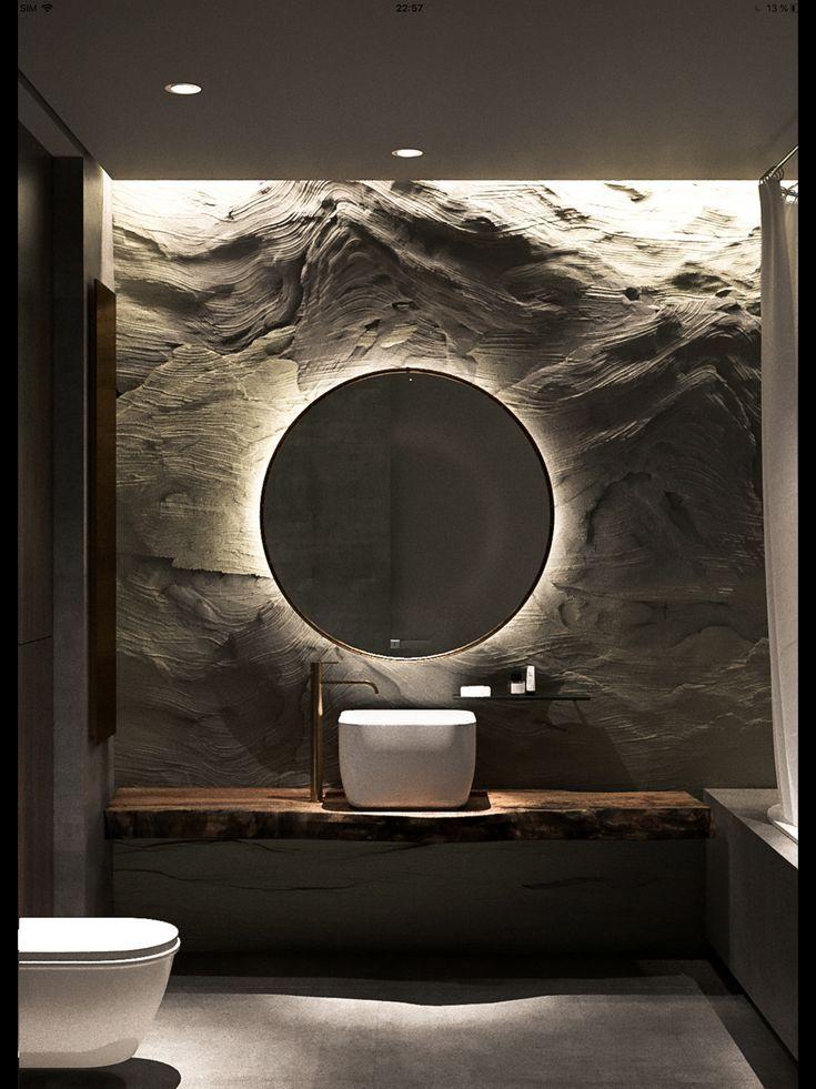 Wow, coole Idee fürs Badezimmer Badspiegel von hinten beleuchten