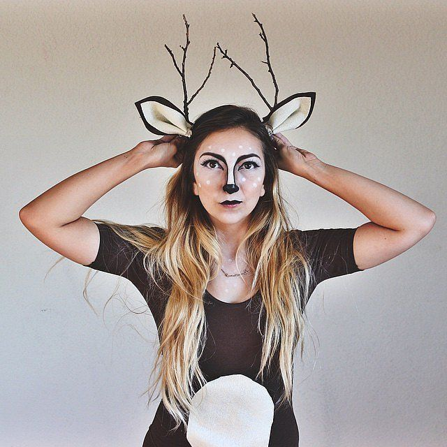 Branches from your backyard and a little makeup talent will turn you into a deer.