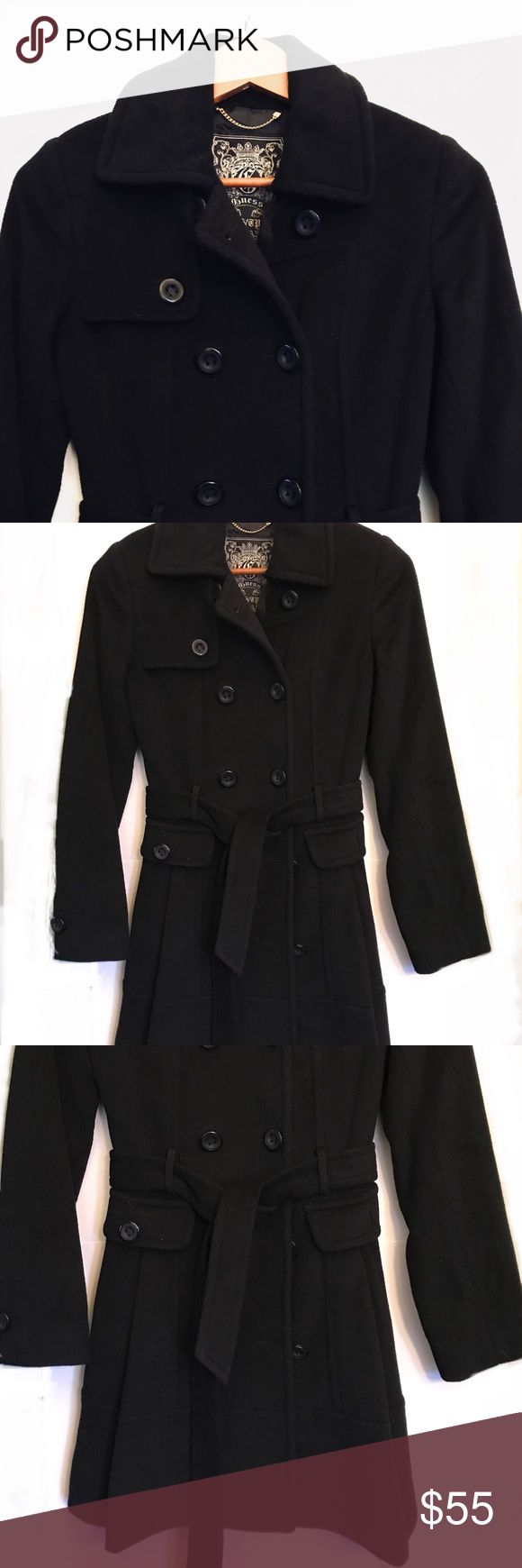 GUESS Long Pea Coat Long black pea coat from GUESS with tie belt . Never worn🌟 Guess Jackets & Coats Pea Coats