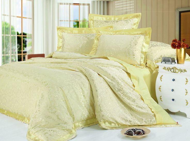 Роскошное шелковое постельное белье, жаккардовое, жаккардовый шелк, Kingsilk арт. sm-18.  Желтого, золотого, золотистого цвета. Размеры, описание, характеристики, низкие цены, скидки, недорого, доставка.