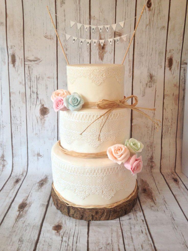 Vintage Log Slice Bunting Rustic Wedding Cake
