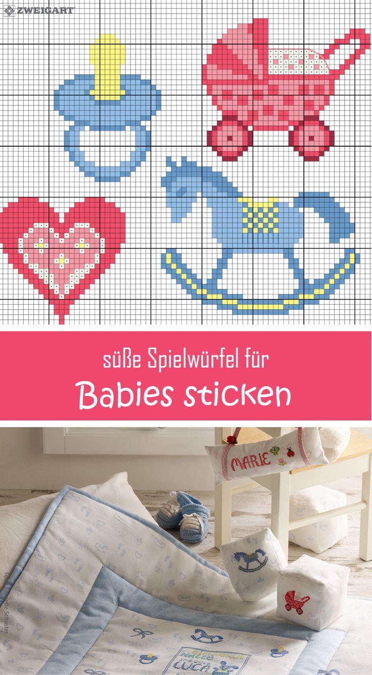 Baby-Spielwürfel für Mädchen & Jungs sticken #Sticken #Kreuzstich / #Baby Spielwürfel; #Embroidery #Crossstitch / #baby cube /  #ZWEIGART