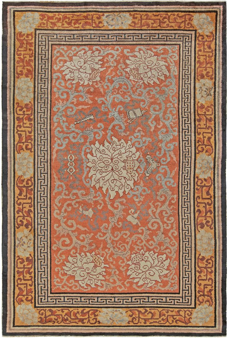 Vintage Rugs: Vintage Rug Chinese Art Deco  for modern or oriental interior decor living room, rug with oriental pattern