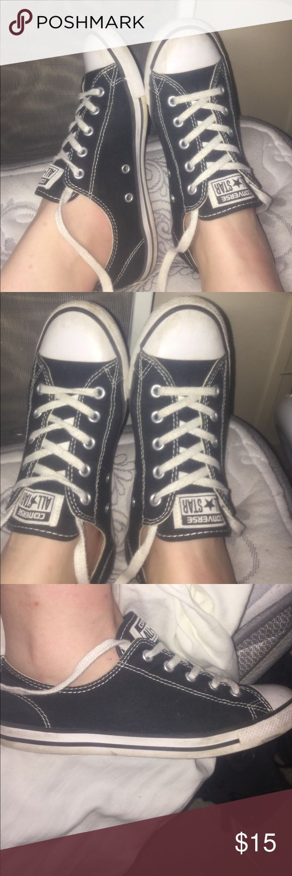 Black/white converse slims🖤 worn.. good condition Black and white, slim sole converse🖤 worn a lot but kept clean and in good condition, a little dirty on the soles, on the toes and in shoelaces. I can wash them before selling them. Willing to trade. Converse Shoes Sneakers