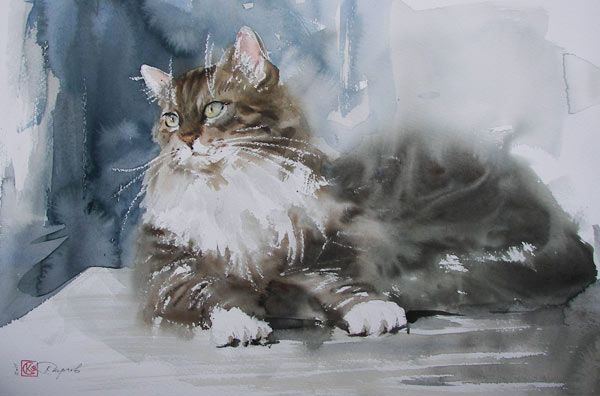 Beautiful long-haired cat painting found on Art Of Watercolor