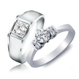 Korean Style Diamonds Sterling Silver Couple/Wedding Rings