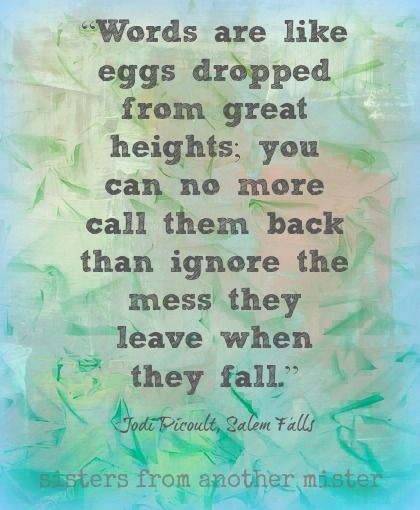 New post and a great quote ...Jodi Picoult quote from Salem Falls - Sisters from Another Mister