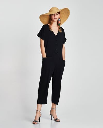 Image 1 of SHORT SLEEVE JUMPSUIT WITH POCKETS from Zara